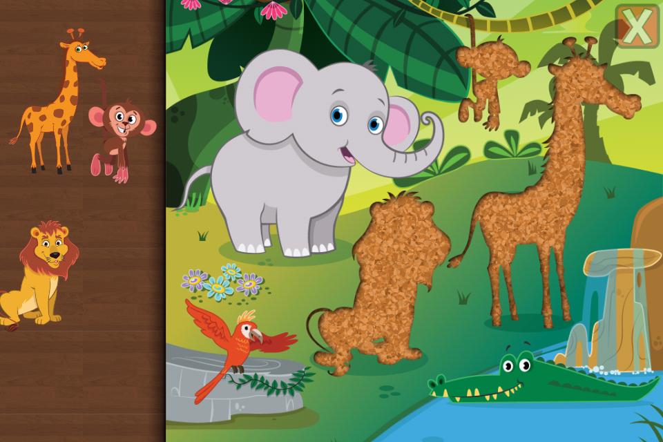 说明 适于一至六岁幼儿和儿童的趣味拼图游戏,其中包括26个可爱的卡通动物,例如30个形状拼图和七巧板拼图的牛、马、山羊、绵羊、猪、狗、大象、长颈鹿、猴子、狮子、海豚、猫头鹰、犀牛、斑马、鹦鹉、老虎、海龟等等! 完成拼图时,孩子们会受到各种有趣的庆祝和交互活动奖励,如气球爆炸等。 有趣的匹配活动通过拖放拼图块,匹配其孔洞,帮助提高视觉感知和形状认知能力,培养精细运动技能。完美适合学前儿童。 特性  动物声音!(不包括海洋动物、长颈鹿和海龟)  儿童安全,请查看我们的隐私政策  由专业儿童读物插图画家绘制