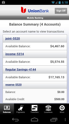 Union Bank Mobile Banking Screenshot