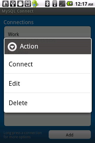MySQL Connect Screenshot