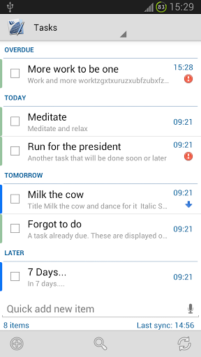 Tasks & Notes for MS Exchange Screenshot