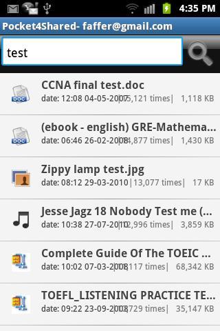 Pocket4Shared Screenshot